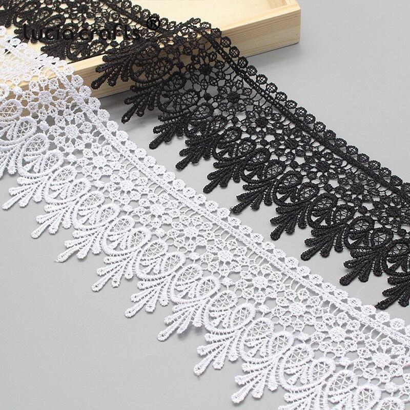HTB1EYVyatzvK1RkSnfoq6zMwVXaj Lucia crafts 1y/2y 9cm Black/White Embroidered Net Lace Fabric Trim Ribbons DIY Sewing Handmade Craft Materials N0508