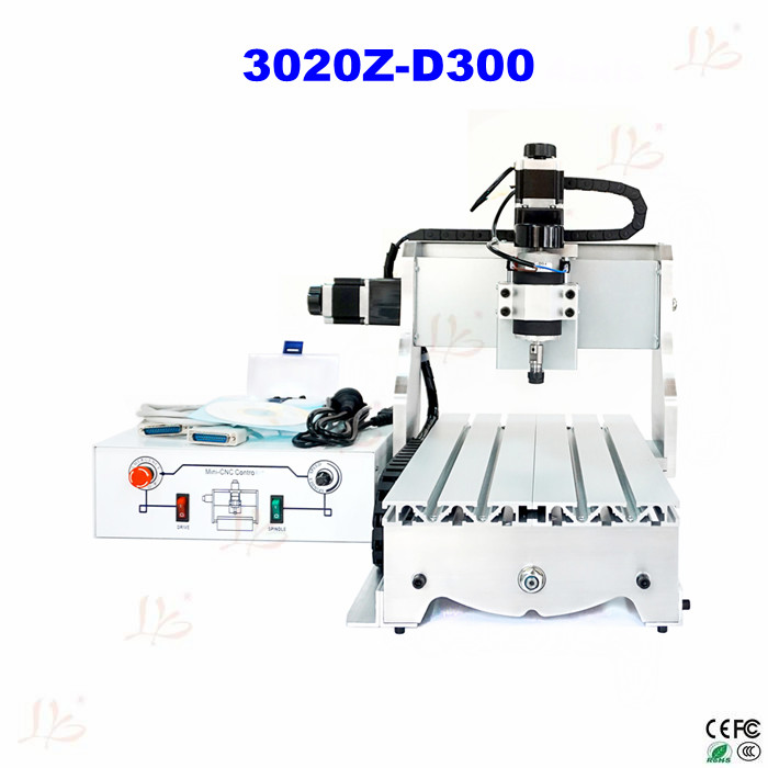 Small cnc milling machine 3020 Z-D300 engraving machine, CNC router/ cutter made in china 300W Spindle no tax mini desktop cnc milling engraving machine cnc 3020z d300 with ball screw and 300w spindle