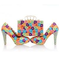 Свадебные туфли лодочки женская обувь и сумки в комплекте кристалл платформа обувь для невесты цветочные кружева кошелек из натуральной ко