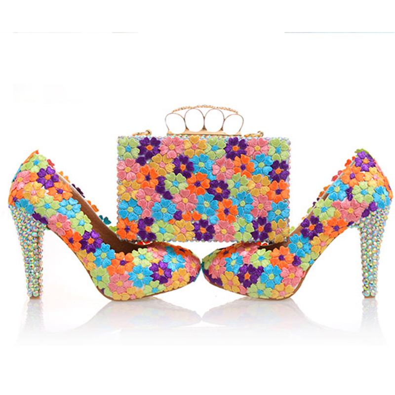 Wedding Pumps Women Shoes and Bags to Matching Crystal Platform Bride Shoe Floral Lace Purse High Heels Genuine Leather Big Size