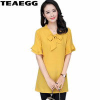 TEAEGG Plus Size 5XL 6XL Short Sleeve Blouse Summer Tops Chiffon Blusen Women 2019 Chemisier Femme Shirts Womens Clothing AL859