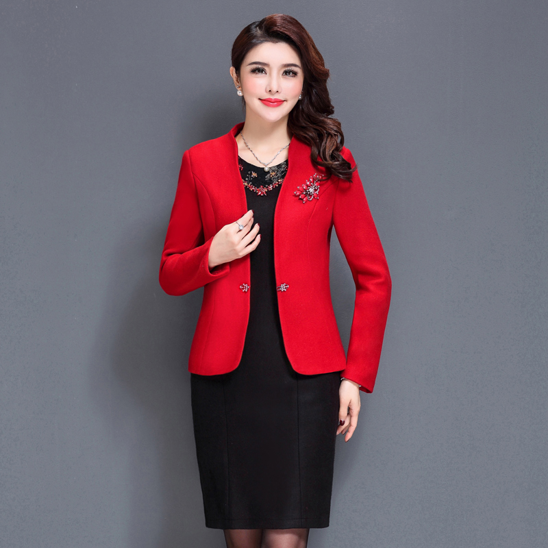 2 Pieces High Quality  New Women Work Wear  Dress Mother Suit Autumn Winter  Mid Old Aged Women Clothing Plus Size Slim set