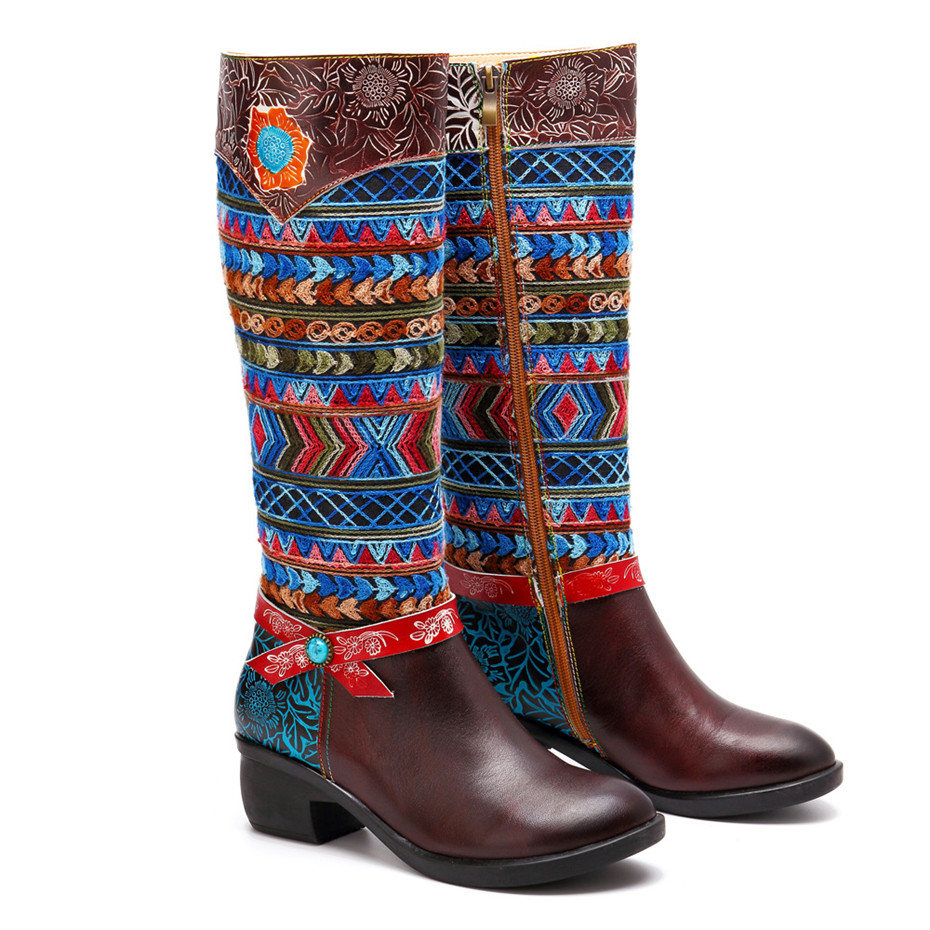 Women Cow Leather Boot Shoes 2019 Spring Autumn Ladies Mid-Calf 4cm Heels Shoes Fashion Bohemia Genuine Leather Boots Large Size (11)