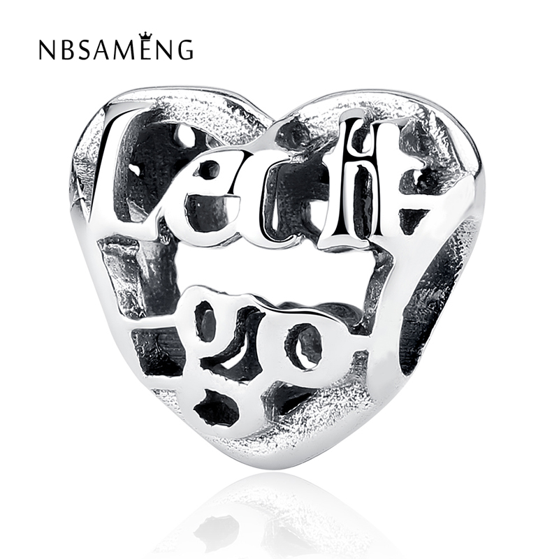 NBSAMENG Authentic 925 Sterling Silver Bead Charm Hollow Heart Let It Go European Beads Fit Women Bracelets DIY Jewelry YW20546