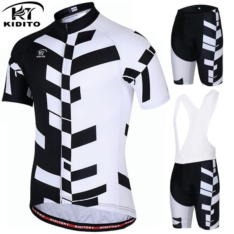 KIDITOKT Pro Quick-Dry Cycling Jersey Set Short Sleeve Cycling Bicycle Clothing Suit Mountain Bike Sportswears Ropa Ciclismo