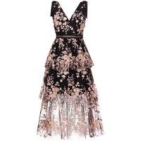 2019 Новое поступление платье с v-образным вырезом и черным цветком