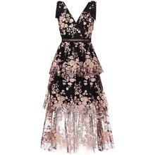 Новое поступление 2020, платье с V образным вырезом и черными цветами