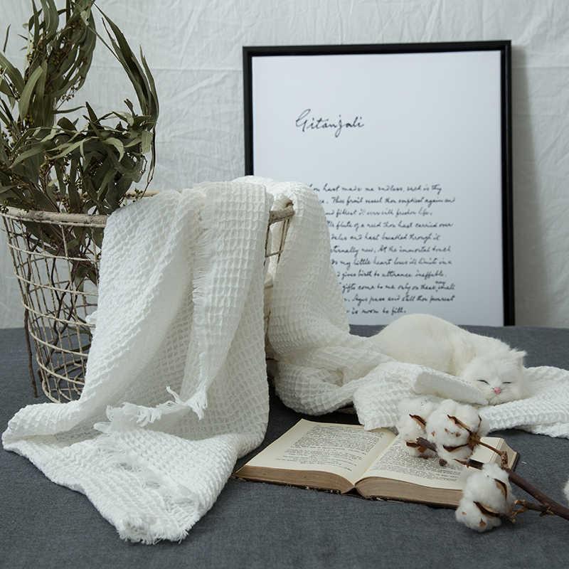 ZDFURS * 和風綿ワッフル薄型タオルキルト毛布ベッド Thorw ハニカム毛布洗える 140*200 センチメートル 100*140 センチメートル