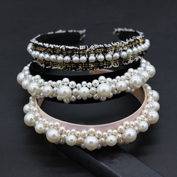 Baroque small dance party cocktail travel personality headband Baroque fashion street beat party pearl personality headband  892
