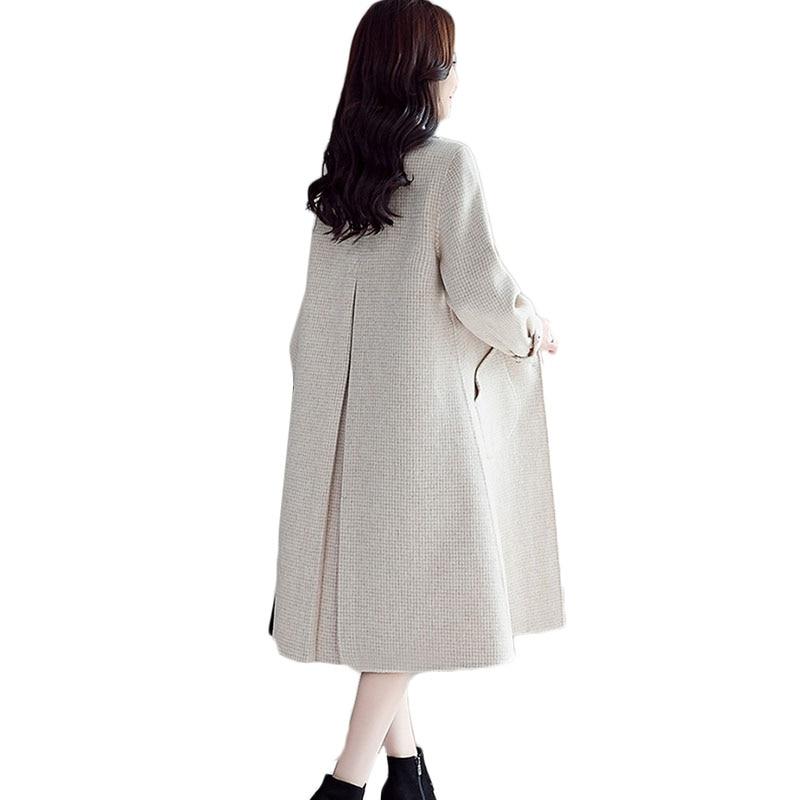 Novas Mulheres casaco de Lã Longo Inverno Coreano Temperamento Single breasted casaco de Lã das Mulheres Moda Malha Rosa Maré Sobretudo 1068 - 5