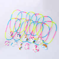 Unicorn Party Decoration Unicornio Rubber Necklace Birthday Party Decorations Kids Gifts Baby Shower Boy Girl Event Party Favors