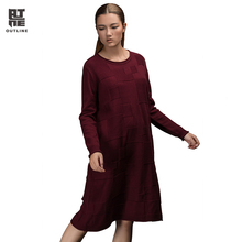 Outline Original Design Women's Loose Medium-long Sweater Autumn Winter Long-sleeve Basic Knitted Sweater L153M001