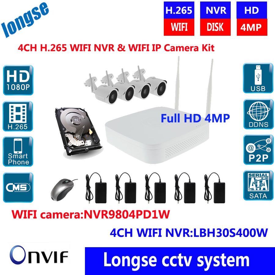 H.265 CCTV System 4ch HD Wireless NVR kits Outdoor 4MP Bullet IP Camera WIFI IR Camera Home Security System Video Surveillance