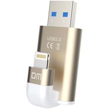 DM APD003 USB Flash Drive 32 GB 64 GB Pour iPhone 8 7 Plus foudre à Métal Pen Drive U Disque pour MFi iOS10 memory stick 128 GB