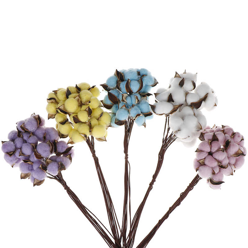 10/pcs Natural Cotton Color Single Dried Flowers DIY Crafts From Artificial Flowers Scented Home Wedding Party Decoration
