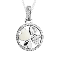 Lucky Clover Silver Necklaces & Pendants Clear CZ Love Heart Choker Necklaces for Women Fashion Girl Necklace Silver 925 Jewelry