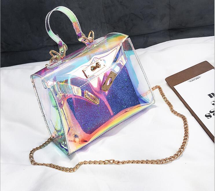 2018 Summer Transparent Blingbling Lock Handbag Composite Bag Lady Bag Women Shoulder Bag #2417 Fashion Woman Crossbody Bag