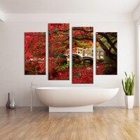 4 개 레드 트리 잎 토지 벽 그림 인쇄 캔버스 홈 장식 아이디어 페인트 벽 아트 없음 액자