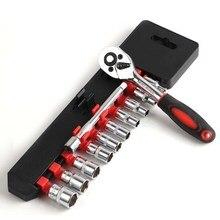 12pcs Ratchet Wrench Socket Spanner Set Hardware Vanadium Chrome-vanadium Steel Repairing Kit Hand Tools Set FULI