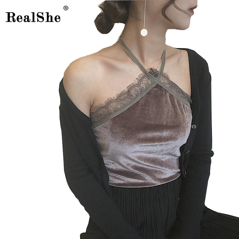 RealShe 2017 new brandy melville tops halter ladies camisole velvet lace bralette sexy tank top women summer backless top