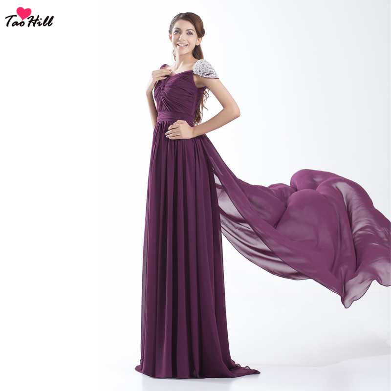 TaoHill Purple Bridesmaid Dress A-line V-neck Chiffon With Pleats Cap Sleeves Pearls With Train