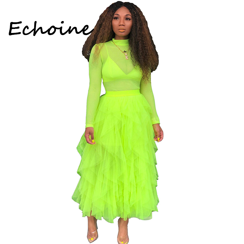 Echoine Loose Irregular Skirts Womens High Waist Skirt Cupcake Long Skirts Summer Beach Cloth For Women 5 Color(China)
