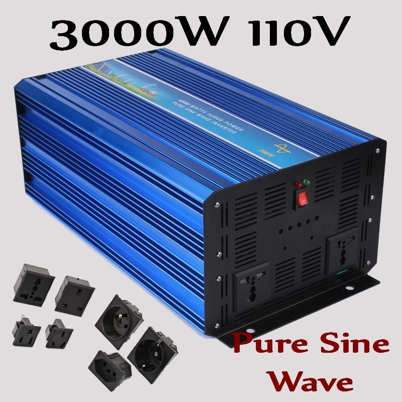 3KW Off Grid Solar Inverter 3000W Pure Sine Wave Inverter DC110V to AC100/110/120V or 220/230/240V Solar Wind Inverter 3000W 300w off grid inverter pure sine wave inverter for solar and wind system 110v dc to ac 100 110 120 220 230 240v