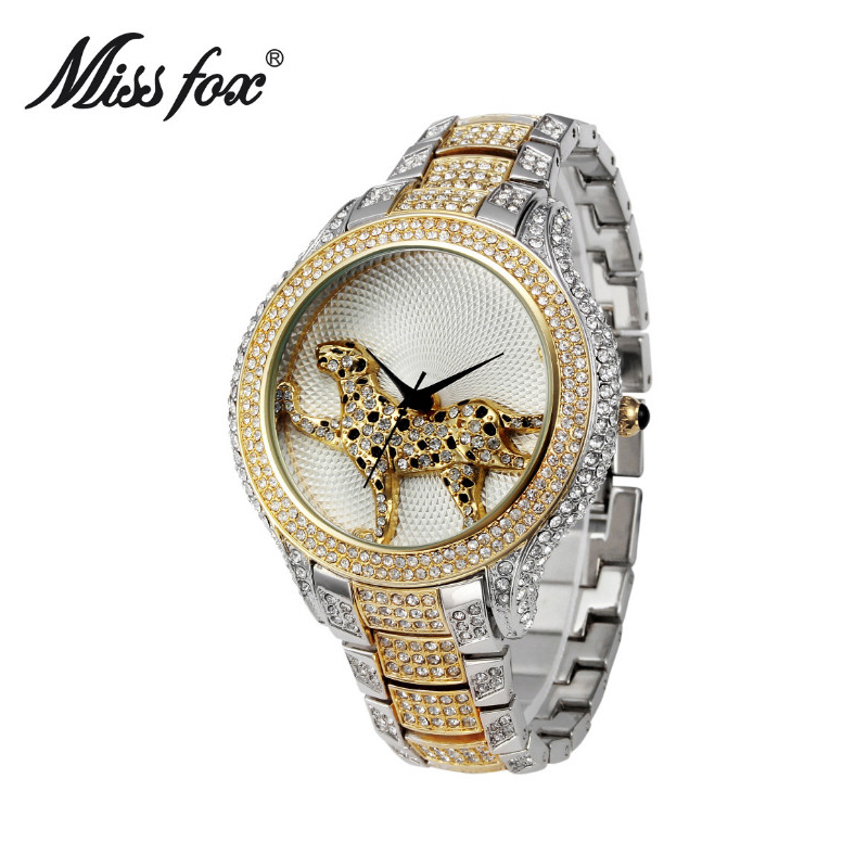 Miss Fox Full Diamond Ladies Watch Fashion Brand Quartz Gold Watch Women Water Resistant Watch Long tail leopard Wrist Watches miss fox role watches quartz women famous brand rose gold watch waterproof diamond stainless steel ar ladies luxury wrist watch