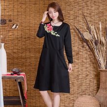 Spring Summer Luo Color Original Folk Style Embroidered Cotton Long Sleeved Dress Large Size Women Dress Female