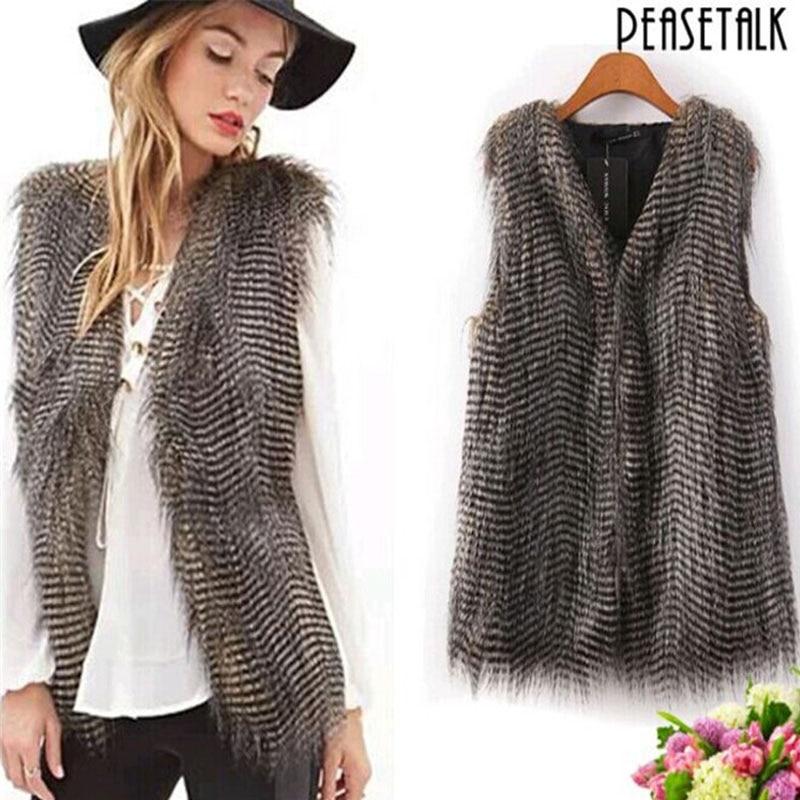 Fashion Women Faux Fur Long Vest Winter Keep Warm Coat Jacket Ladies Girls Gilet Veste Casual Waistcoat Plus Size S-3XL