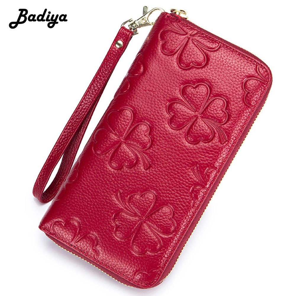 Genuine Leather RFID Clutch Wallets Women Solid Large Capacity Purse Women Embossed Clover Card Holders
