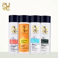 PURC Gold 100ml Brazilian Keratin Treatment Straighten Hair and Repair Coarse Frizzy Dry Split Ends Make Hair Smoothing Shine
