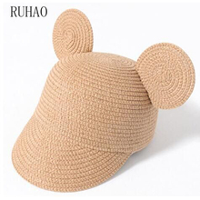 RUHAO Cute summer hats Girls straw cap beach big Ear hat Boy Baby sun shade Kids  bow hand made