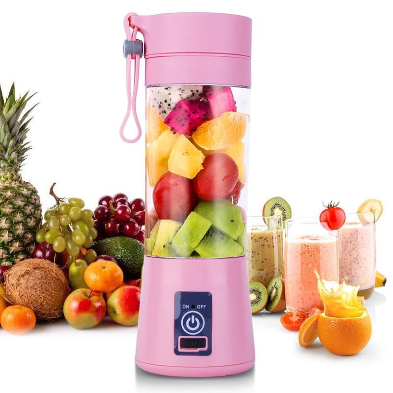 все цены на 380ml Blades Mini USB Rechargeable Portable Electric Fruit Juicer Smoothie Maker Blender Machine Sports Bottle Juicing Cup онлайн