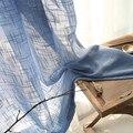 Синие шторы  сплошное Тюлевое окно  Современная гостиная  льняные белые тюлевые шторы  белые шторы из пряжи  на заказ