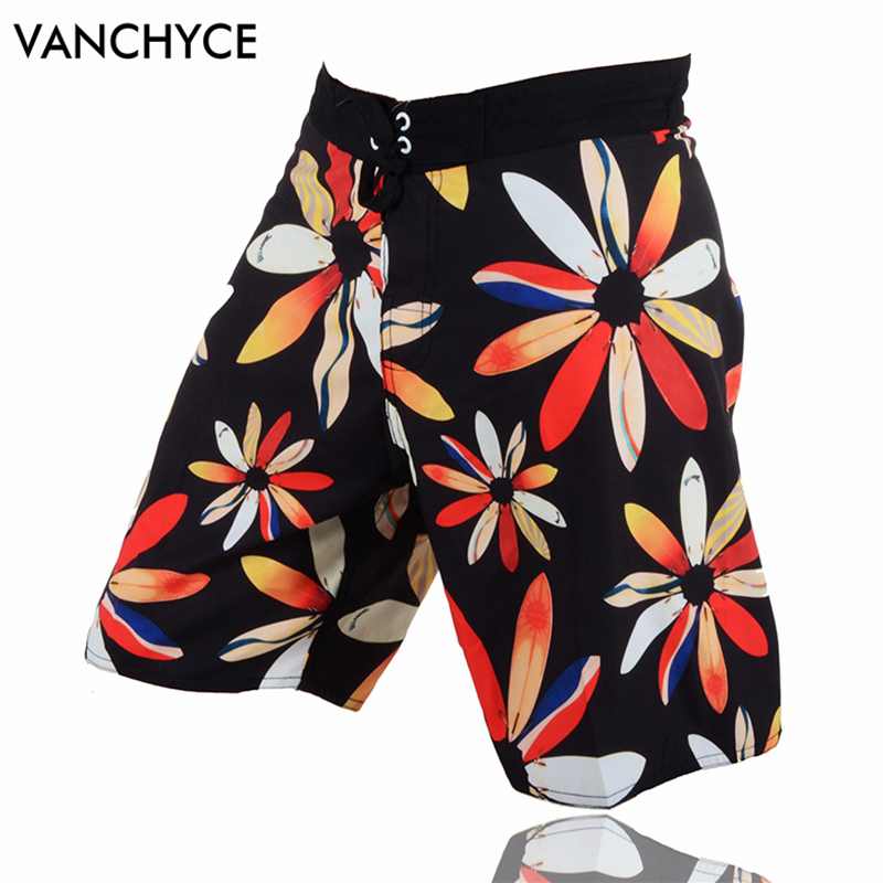 VANCHYCE Men's High Line Tropical Floral Print Quick-Drying Lightweight Comfort   Board     Shorts