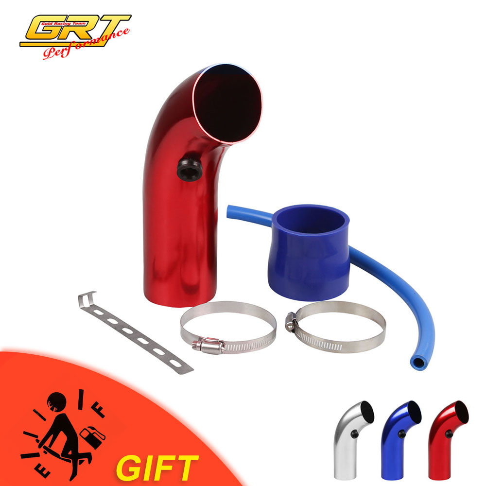"""3/"""" Red 76mm Aluminum Car SUV Cold Air Intake Induction Pipe Hose Cone Filter Kit"""