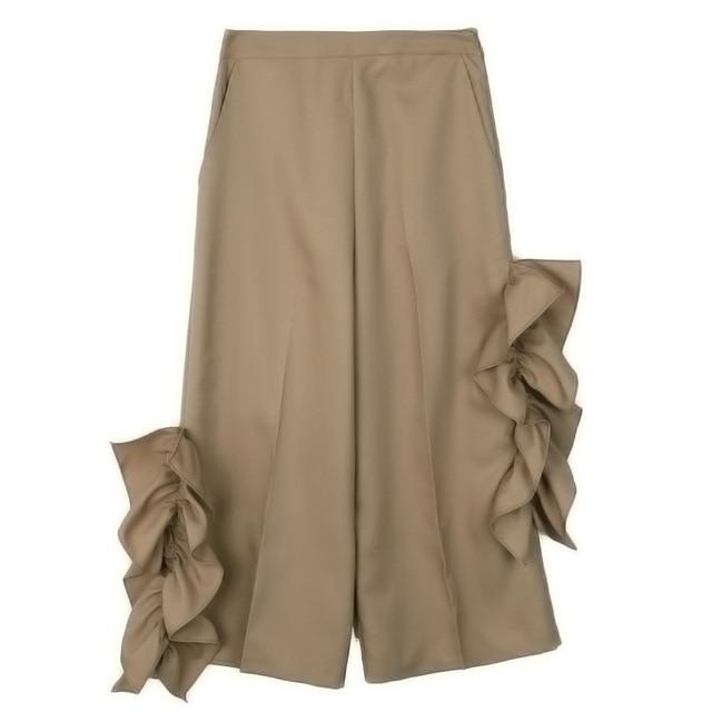 [soonyour] 2017 new s[ring solid color black khaki  Lotus Leaf Wide Leg pants women trousers fashion tide all-match J03301