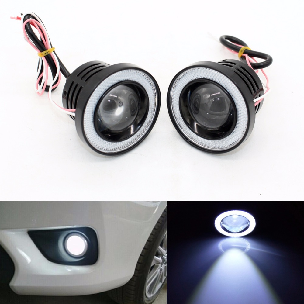 3.5 inch Car Universal 1200LM COB LED Angel Eyes Fog Lamp W/ Lens Auto DRL Driving Light Daytime Running Lights White Headlight 1 pair h3 headlight driving bulb daytime running light head light lamp car stying led car headlamp white auto fog lamp drl