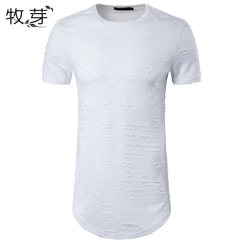 2017 New arrived Men Ripped short sleeve t shirt extended Curve hem longline t shirt hip hop funny t shirt