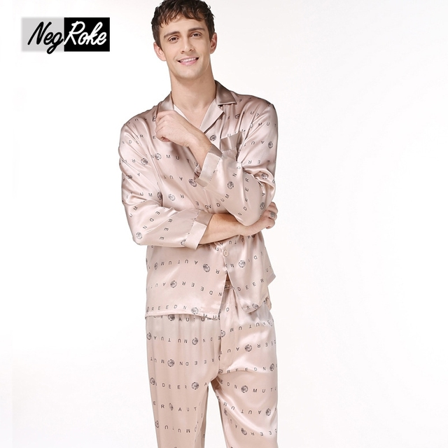 Fashion spring 100% silk mens pajamas Sleepwear Long sleeve printing male pyjama sets for men simple consistent silk pajamas men