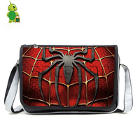 Avengers Spiderman Pu Leather Mens Messenger Bags Casual Handbags Super Hero Travel Shoudler Bag for Teenagers Boys School Bag
