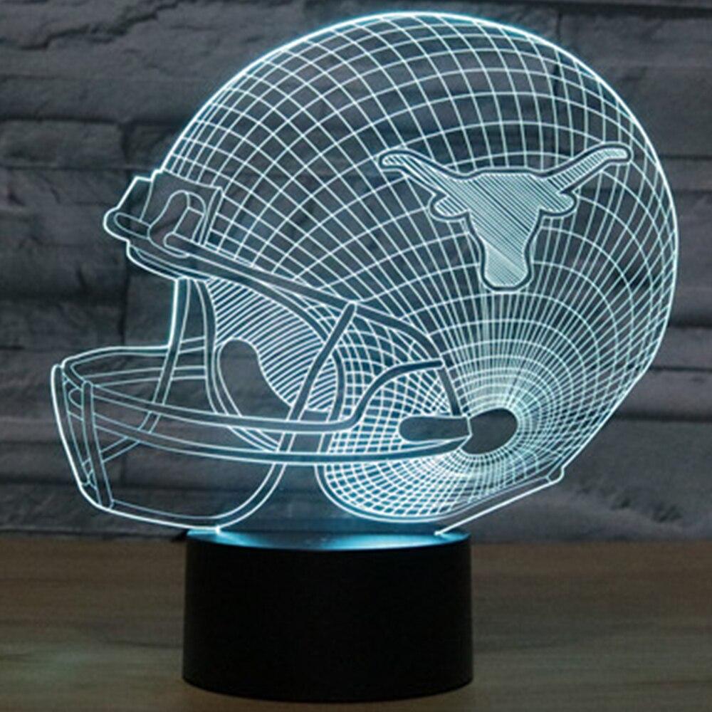 Texas Longhorns Football Helmet Night Light NCAA team LED Bulb 7 Color Changing Bedroom Lighting USB 3D LED NightLight IY803681