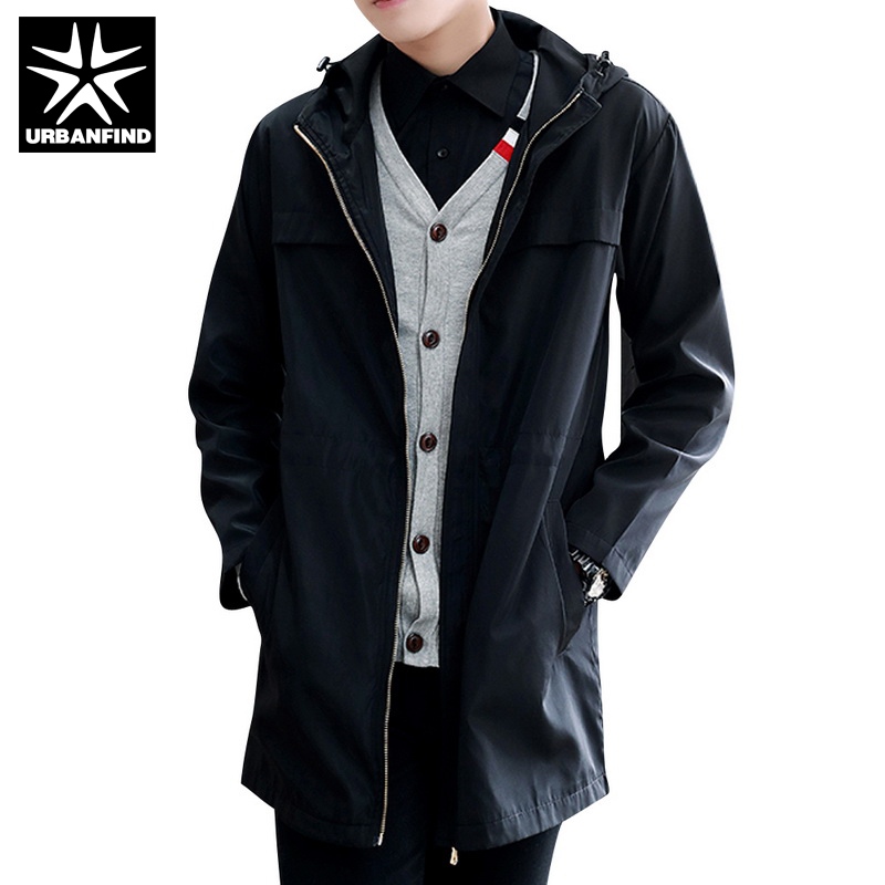ea409c66b552 URBANFIND Long Style Men Casual Windbreaker Size M-3XL Solid Color  Windproof Man Hooded Trench Coats Black   Blue   Grey