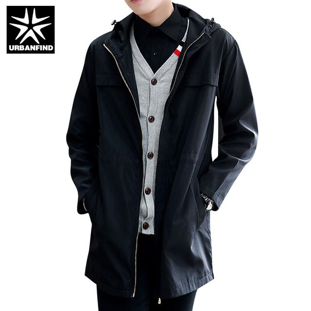 URBANFIND Long Style Men Casual Windbreaker Size M-3XL Solid Color Windproof Man Hooded Trench Coats Black / Blue / Grey