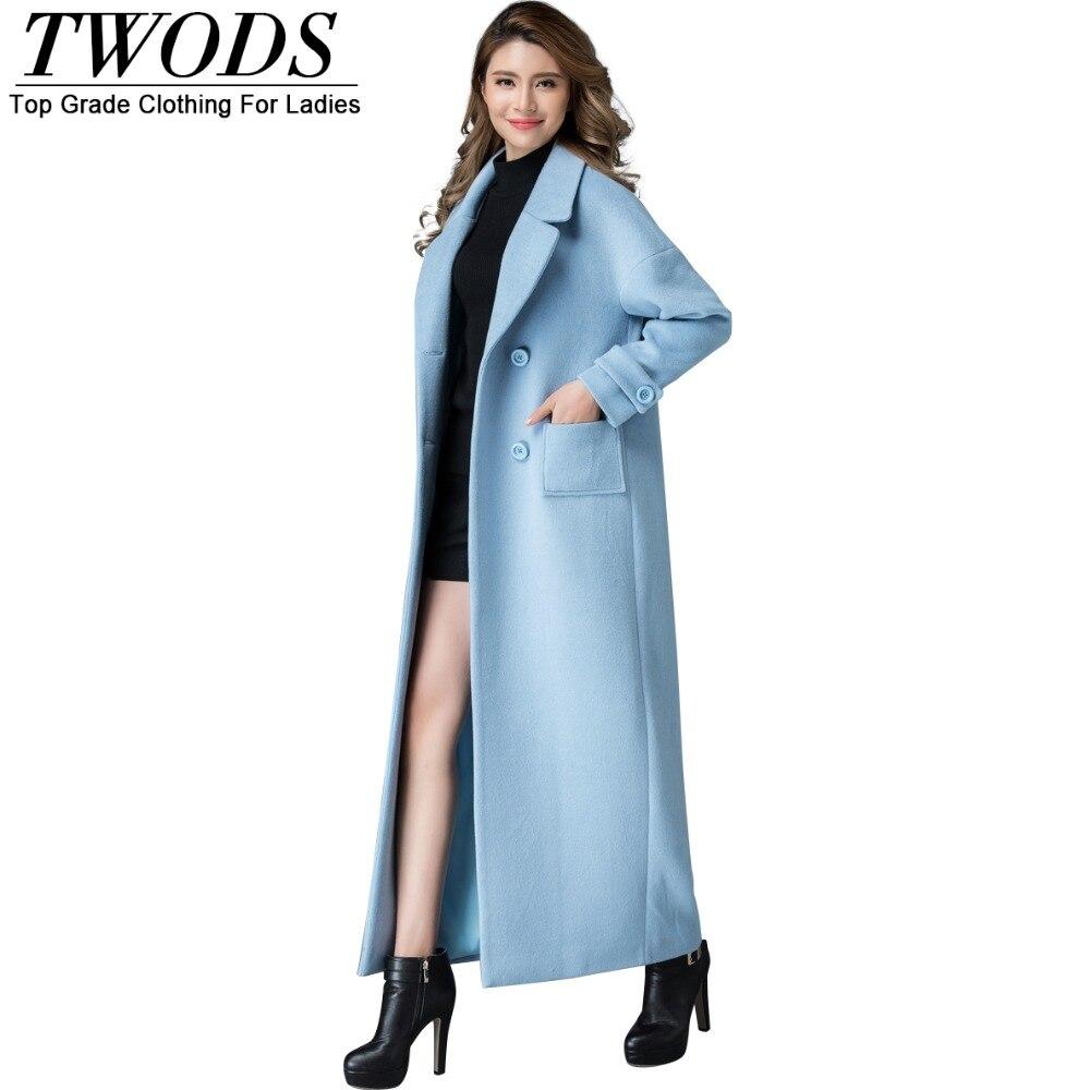Twods S 4xl New Fashion Light Blue Wool Coat Women Plus