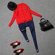 2016 Autumn new fashion women 2 pieces jeans suits T shirt coat pocket slim hole jeans
