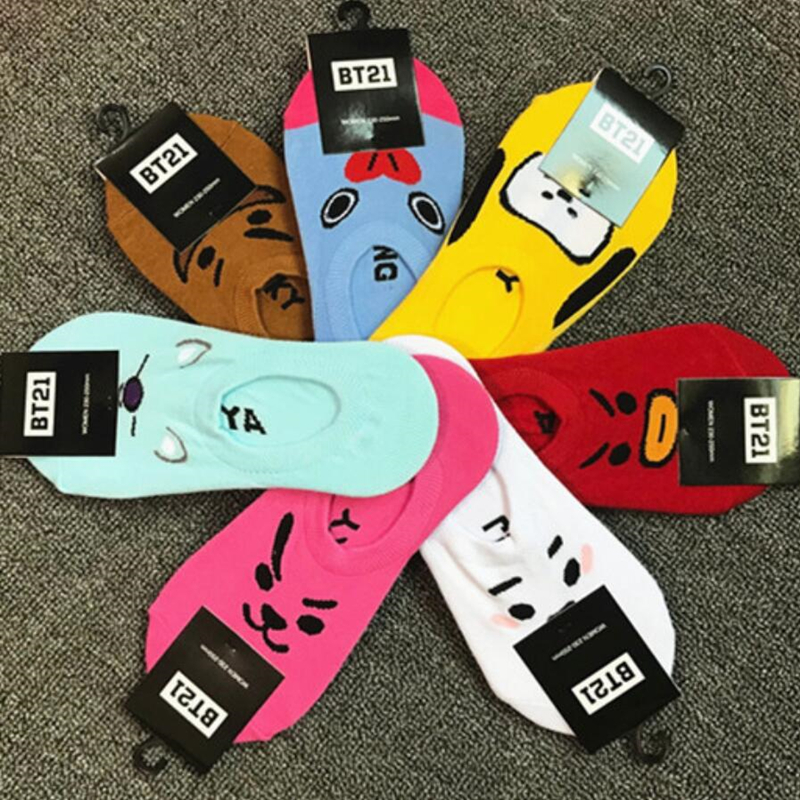 Kpop BTS BT21 Cartoon Cotton Invisible Ankle Socks Women Kawaii Cute Short Sock Slippers TATA COOKY MANG KOYA RJ SHOOKY CHIMMY