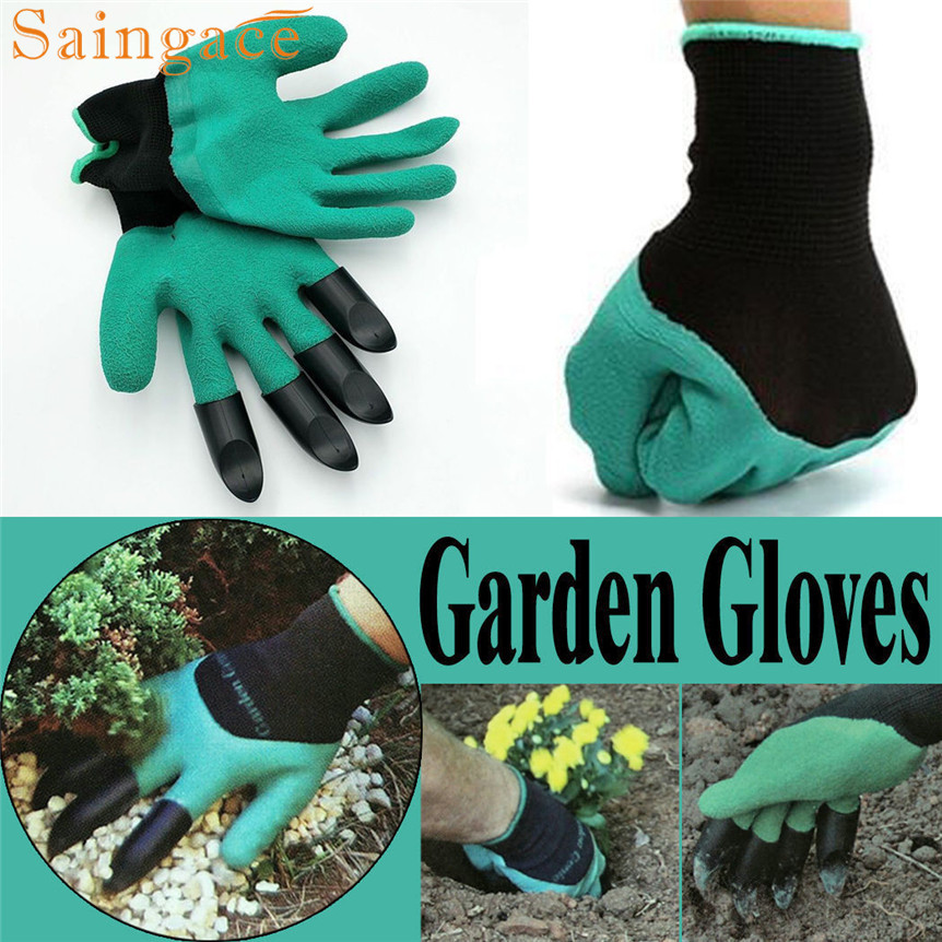 saingace lovely pet 1 pair new Gardening Gloves for garden Digging Planting with 4 ABS Plastic Claws mar28