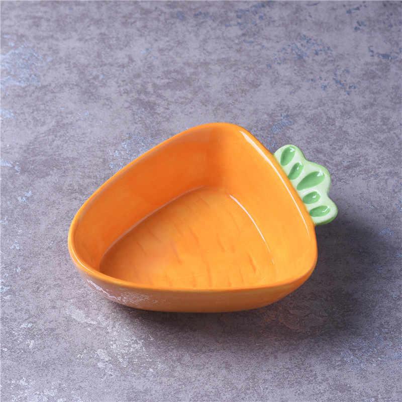Керамическая тарелка мультяшная миска с рисунком животного креативная Милая Ручная Роспись Кролик салатник капуста обнимая кролик с морковкой тарелка